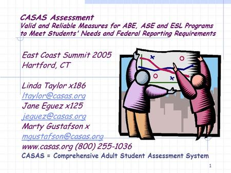 1 CASAS Assessment Valid and Reliable Measures for ABE, ASE and ESL Programs to Meet Students' Needs and Federal Reporting Requirements East Coast Summit.