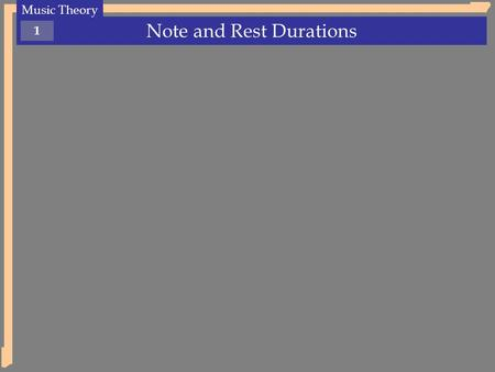 Note and Rest Durations Music Theory 1. Note and Rest Durations Music Theory 2 Each note value has a unique length (or duration). The name of each note.