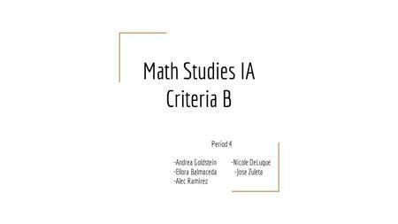 ib math studies coursework criteria