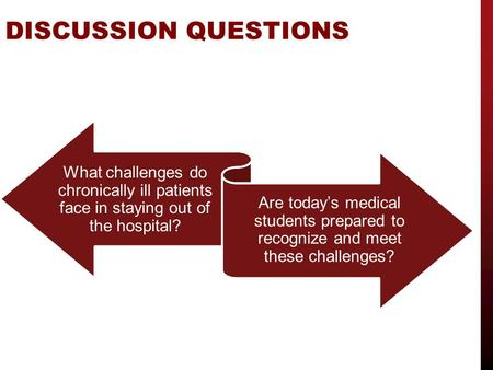 DISCUSSION QUESTIONS What challenges do chronically ill patients face in staying out of the hospital? Are today's medical students prepared to recognize.