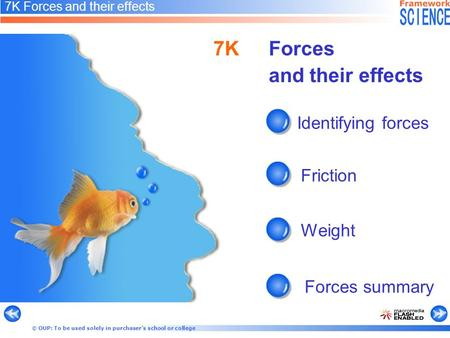 © OUP: To be used solely in purchaser's school or college 7K Forces and their effects Identifying forces Friction Weight Forces summary 7KForces and their.
