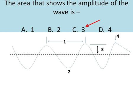 The area that shows the amplitude <strong>of</strong> the wave is – A. 1 B. 2 C. 3 D. 4 1 2 3 4.