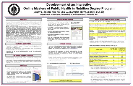 Development of an Interactive Online Masters of Public Health in Nutrition Degree Program NANCY L. COHEN, PhD, RD, LDN and PATRICIA BEFFA-NEGRINI, PhD,