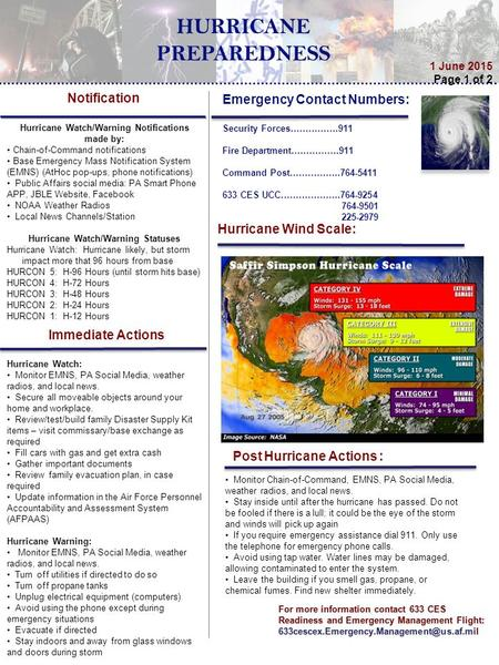 For more information contact 633 CES Readiness and Emergency Management Flight: 1 June 2015 Page 1 of 2 Emergency.