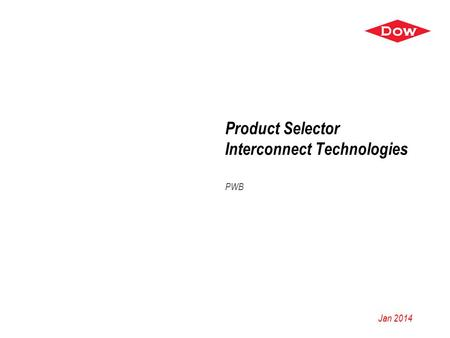 Product Selector Interconnect Technologies PWB Jan 2014.
