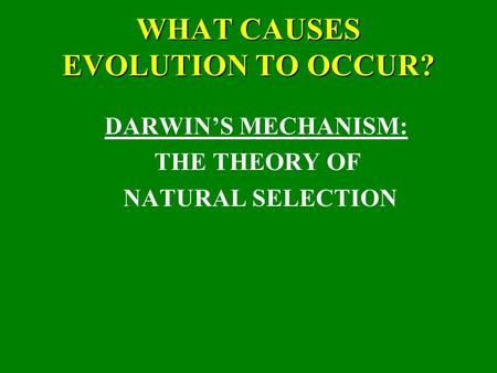 WHAT CAUSES EVOLUTION TO OCCUR? DARWIN'S MECHANISM: THE THEORY OF NATURAL SELECTION.