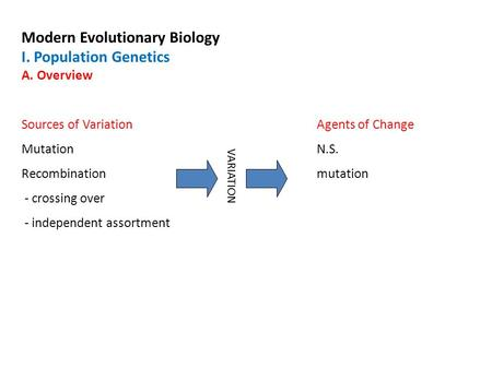 Modern Evolutionary Biology I. Population Genetics A. Overview Sources of VariationAgents of Change MutationN.S. Recombinationmutation - crossing over.