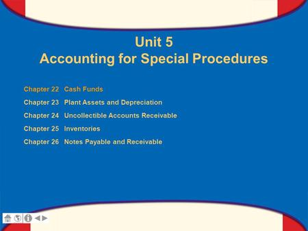 0 Glencoe Accounting Unit 5 Chapter 22 Copyright © by The McGraw-Hill Companies, Inc. All rights reserved. Unit 5 Accounting for Special Procedures Chapter.