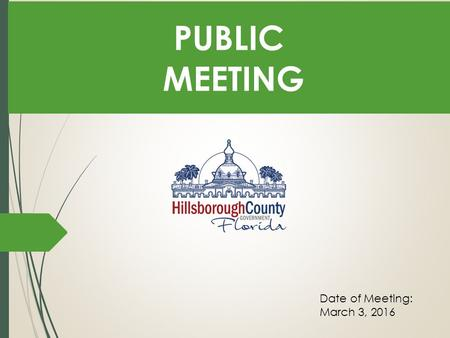 PUBLIC MEETING Date of Meeting: March 3, 2016 Background The Board of County Commissioners has approved funding for the Riverview Library Expansion/Replacement.