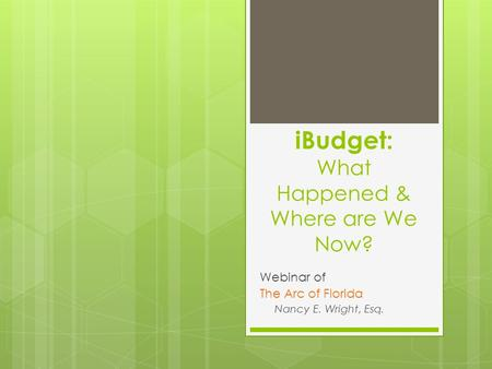 IBudget: What Happened & Where are We Now? Webinar of The Arc of Florida Nancy E. Wright, Esq.