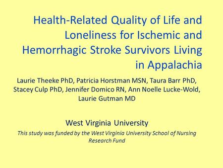 Health-Related Quality of Life and Loneliness for Ischemic and Hemorrhagic Stroke Survivors Living in Appalachia Laurie Theeke PhD, Patricia Horstman MSN,