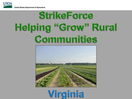 What is StrikeForce? In 2010, created as a pilot project by USDA Secretary Tom Vilsack Provides support to economically challenged areas of the nation.