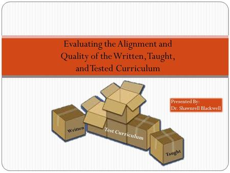 Evaluating the Alignment and Quality of the Written, Taught, and Tested Curriculum Written Taught Test Curriculum Presented By: Dr. Shawnrell Blackwell.