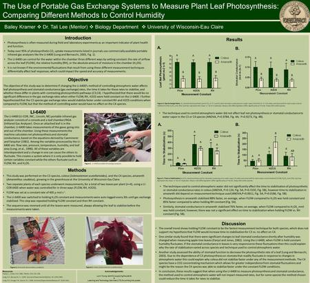 The Use of Portable Gas Exchange Systems to Measure Plant Leaf Photosynthesis: Comparing Different Methods to Control Humidity Bailey Kramer  Dr. Tali.