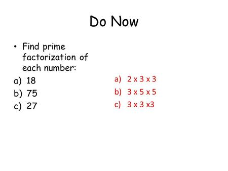 write 75 as a product of prime factors Using factor trees to easily write a number as the product of its prime factors essential gcse maths revision video view my channel: http://wwwyoutube.