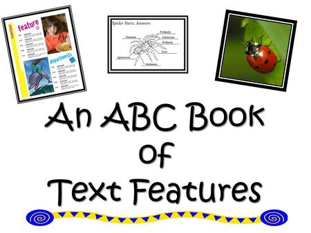 An ABC Book of Text Features. AIM: What is the purpose of a text feature? 11.8.12 Do Now: Non-fiction texts and fiction texts are different. How are they.