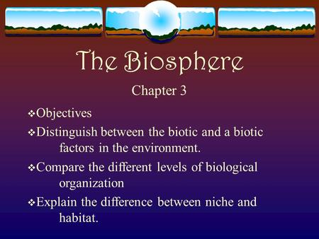 The Biosphere Chapter 3  Objectives  Distinguish between the biotic and a biotic factors in the environment.  Compare the different levels of biological.