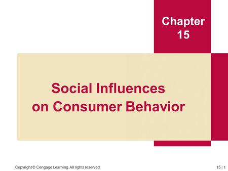 Copyright © Cengage Learning. All rights reserved.15 | 1 Chapter 15 Social Influences on Consumer Behavior.