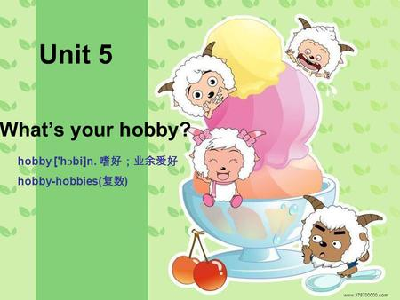 What's your hobby? www.378700000.com Unit 5 hobby ['h ɔ bi]n. 嗜好;业余爱好 hobby-hobbies( 复数 )