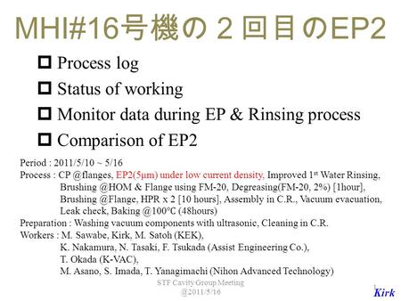 MHI#16 号機の2回目の EP2  Process log  Status of working  Monitor data during EP & Rinsing process  Comparison of EP2 Period : 2011/5/10 ~ 5/16 Process :