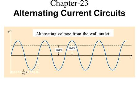 Chapter-23 Alternating Current Circuits. Alternating Signal The rms amplitude is the DC voltage which will deliver the same average power as the AC signal.