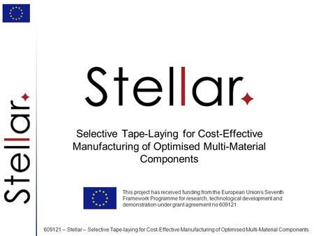 609121 – Stellar – Selective Tape-laying for Cost-Effective Manufacturing of Optimised Multi-Material Components Selective Tape-Laying for Cost-Effective.