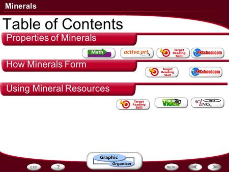 Minerals Properties of Minerals How Minerals Form Using Mineral Resources Table of Contents.