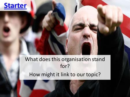 Starter What does this organisation stand for? How might it link to our topic?