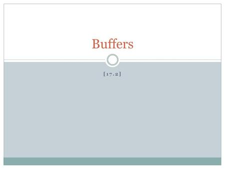 [17.2] Buffers. Buffer: a solution that resists a change in pH The best buffer has large and equal amounts of proton donors (weak acid to neutralize OH.