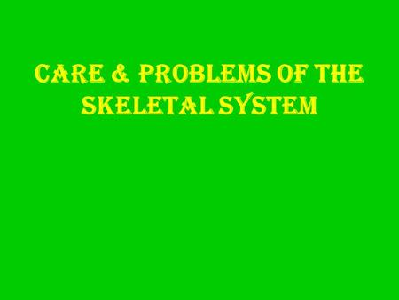 Care & Problems of the Skeletal System. Osteoporosis  Thinning & weakening of bones.  CB: loss of calcium from bone tissue.  Become brittle – fracture.