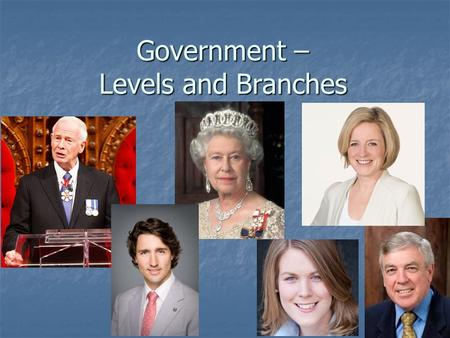 Government – Levels and Branches. Each Level of Government has: An Executive Branch – role? An Executive Branch – role? A Legislative Branch – role? A.