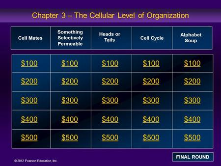 © 2012 Pearson Education, Inc. Chapter 3 – The Cellular Level of Organization $100 $200 $300 $400 $500 $100 $200 $300 $400 $500 Cell Mates Something Selectively.