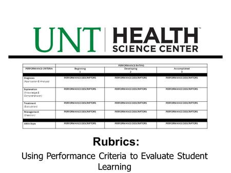 Rubrics: Using Performance Criteria to Evaluate Student Learning PERFORMANCE RATING PERFORMANCE CRITERIABeginning 1 Developing 2 Accomplished 3 Content.