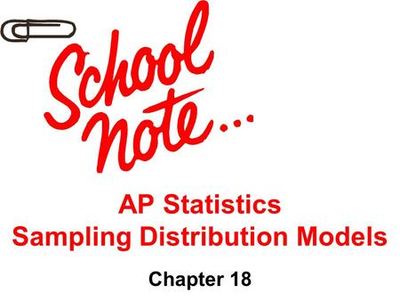 AP Statistics Sampling Distribution Models Chapter 18.