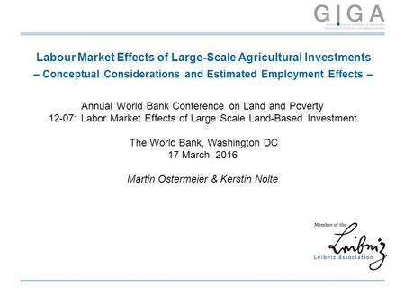 Labour Market Effects of Large-Scale Agricultural Investments – Conceptual Considerations and Estimated Employment Effects – Annual World Bank Conference.