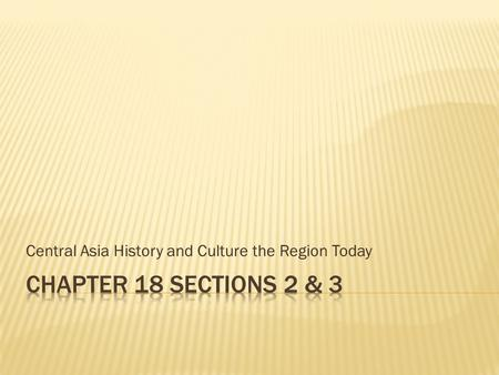 Central Asia History and Culture the Region Today.