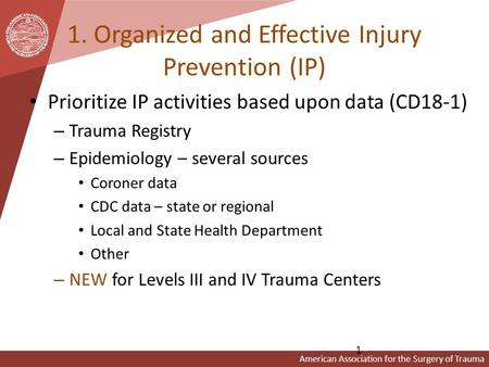 American Association for the Surgery of Trauma 1. Organized and Effective Injury Prevention (IP) Prioritize IP activities based upon data (CD18-1) – Trauma.