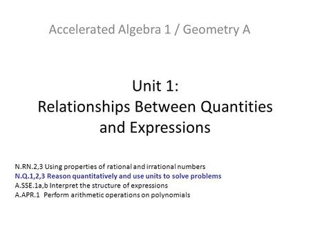Unit 1: Relationships Between Quantities and Expressions Accelerated Algebra 1 / Geometry A N.RN.2,3 Using properties of rational and irrational numbers.