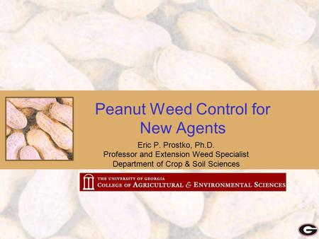 Peanut Weed Control for New Agents Eric P. Prostko, Ph.D. Professor and Extension Weed Specialist Department of Crop & Soil Sciences.
