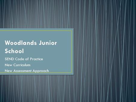 Woodlands Junior School SEND Code of Practice New Curriculum New Assessment Approach.