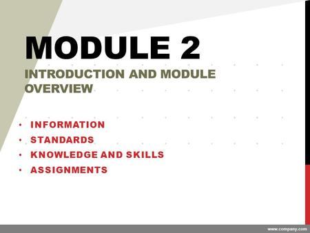 Www.company.com MODULE 2 INTRODUCTION AND MODULE OVERVIEW INFORMATION STANDARDS KNOWLEDGE AND SKILLS ASSIGNMENTS.