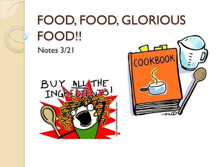 FOOD, FOOD, GLORIOUS FOOD!! Notes 3/21. Food Review Chicken Hamburger Chips French fries Candy Chocolate Spaghetti.