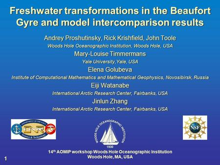 Freshwater transformations in the Beaufort Gyre and model intercomparison results Andrey Proshutinsky, Rick Krishfield, John Toole Woods Hole Oceanographic.