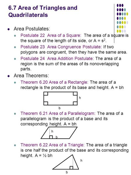 6.7 Area of Triangles and Quadrilaterals Area Postulates: Postulate 22 Area of a Square: The area of a square is the square of the length of its side,