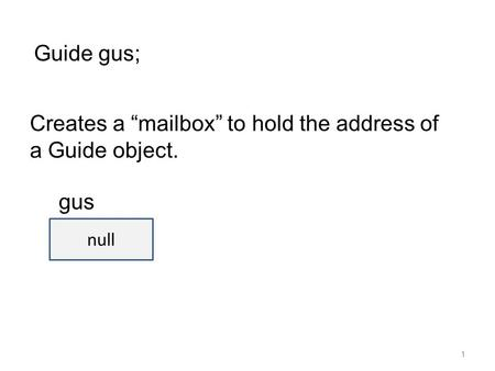 "1 Guide gus; Creates a ""mailbox"" to hold the address of a Guide object. null gus."