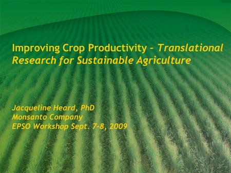Improving Crop Productivity – Translational Research for Sustainable Agriculture Jacqueline Heard, PhD Monsanto Company EPSO Workshop Sept. 7-8, 2009.