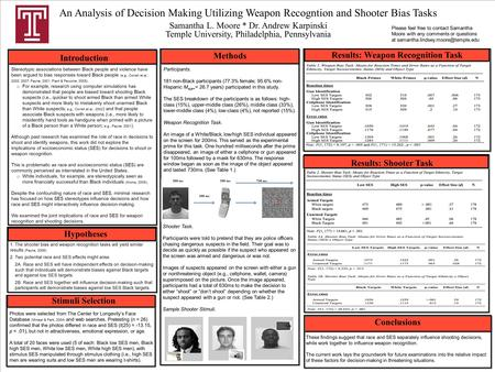 An Analysis of Decision Making Utilizing Weapon Recogntion and Shooter Bias Tasks Results: Shooter Task Introduction Stimuli Selection Results: Weapon.