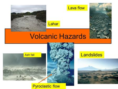 Lava flow Lahar Volcanic Hazards Landslides Ash fall Pyroclastic flow.