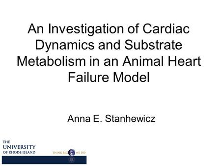 An Investigation of Cardiac Dynamics and Substrate Metabolism in an Animal Heart Failure Model Anna E. Stanhewicz.