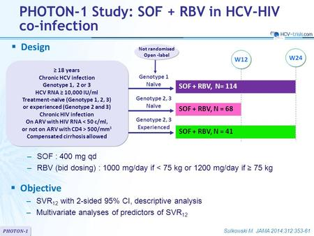 PHOTON-1  Design  Objective –SVR 12 with 2-sided 95% CI, descriptive analysis –Multivariate analyses of predictors of SVR 12 SOF + RBV, N= 114 SOF +